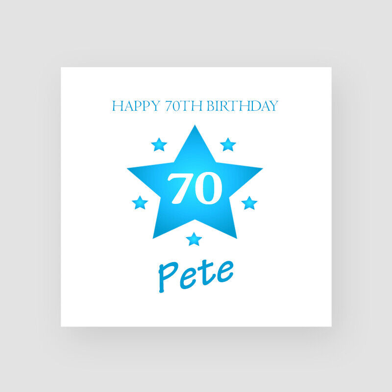 Details About Personalised Handmade Star 70th Birthday Card