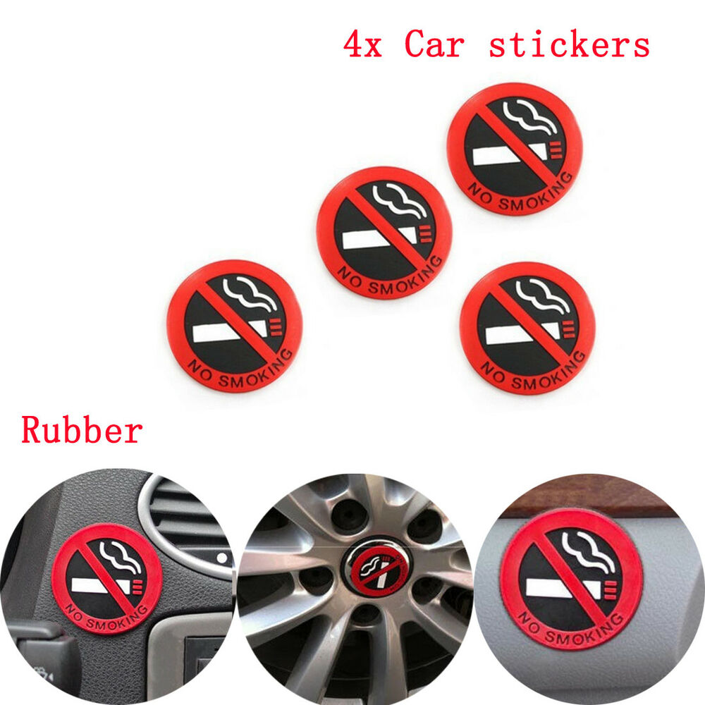 Details about 4pcs no smoking warning sticker rubber sign car taxi home office logo universal