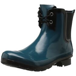 NEW Roma Women's Chelsea Lace-up Teal Rubber Rain Boots, Sz 11