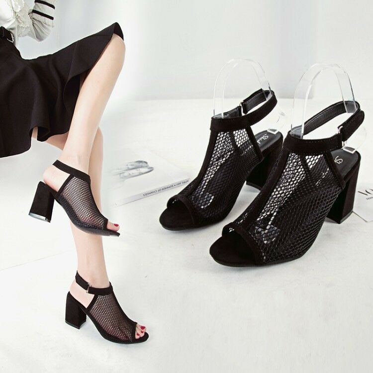 60d4b4bc6f9e Details about Womens Ladies Block High Heel Shoes Mesh Ankle Strap Peep Toe  Chunky Sandals