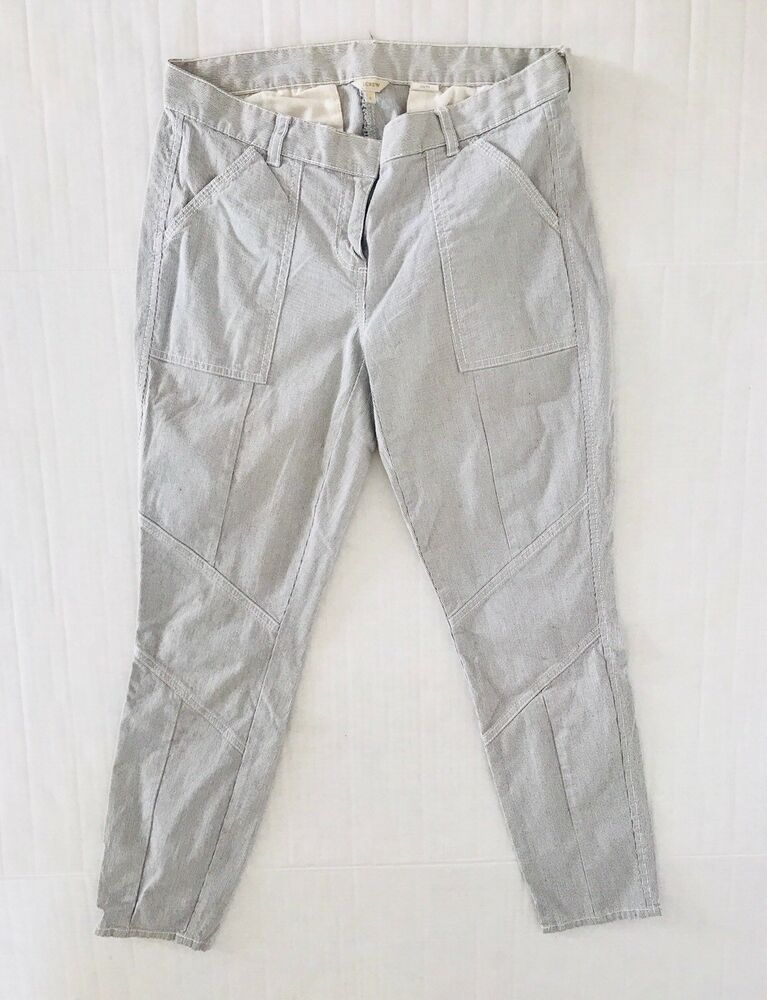 f01d02a067 Details about J crew Womens Pinstripe Pants Size 2 x 26 Blue Skinny Ankle  City Fit Stretch N3