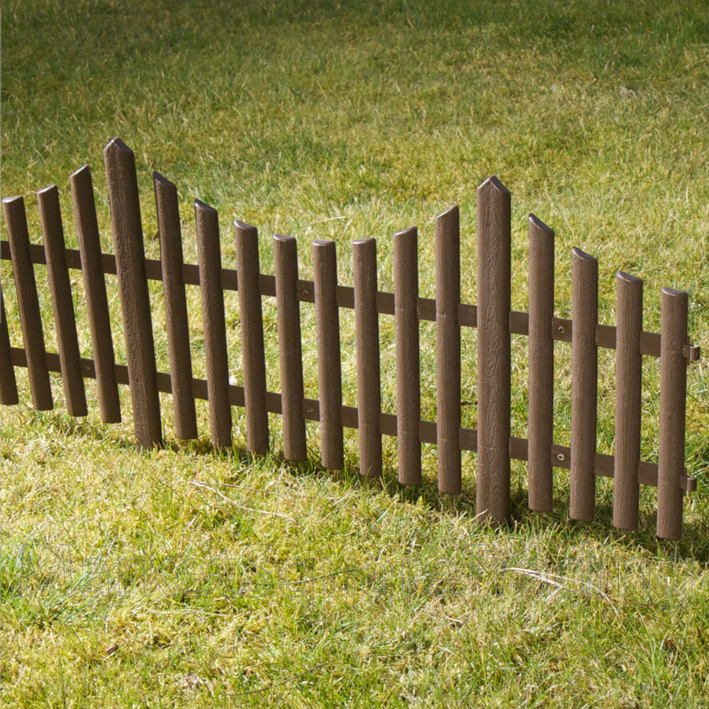 4 Brown Plastic Wooden Effect Lawn Border Edge Garden Edging Picket Fencing Set Ebay
