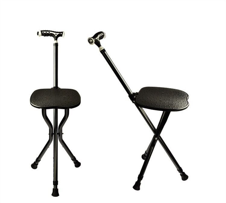Adjustable Folding Walking Cane Chair Walking Stick With