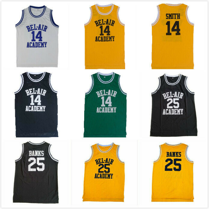 c771e9568545 Details about Will Smith Basketball Jersey The Fresh Prince of Bel Air  Academy 14  Yellow