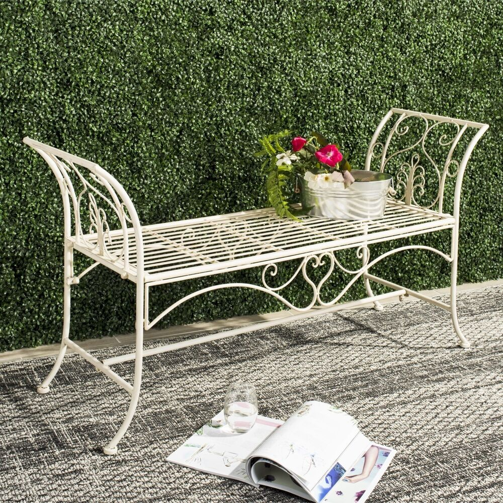 outdoor wrought iron metal rustic garden bench patio porch. Black Bedroom Furniture Sets. Home Design Ideas
