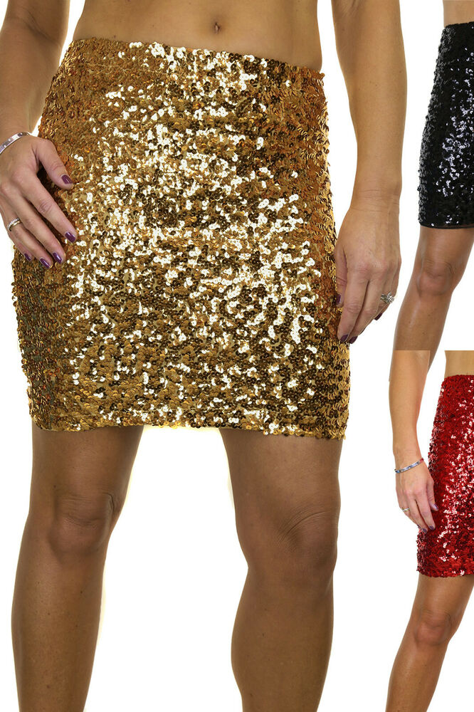 Sequin All Over Stretch Mini Skirt Sizes 6-14 ICE 2548