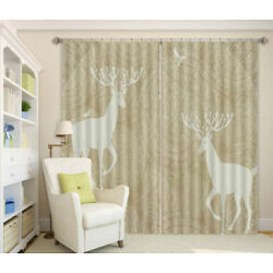 Two Sika Deer And Birds 3D Curtain Blockout Photo Printing Curtains Drape Fabric