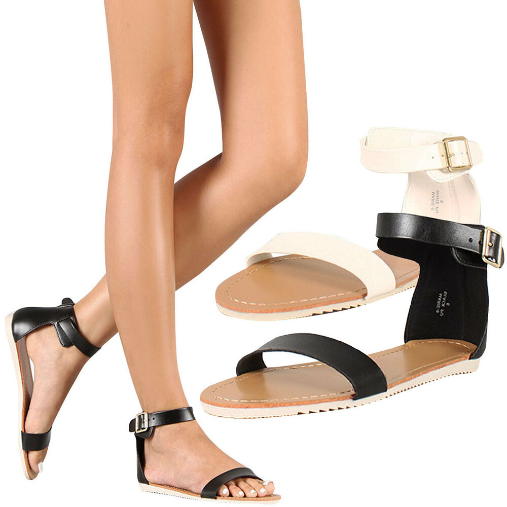 bb966a6ec84 Details about New Women s Flat Gladiator Sandals Shoes Buckle Ankle Strap  Single Band Open Toe