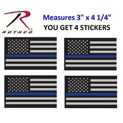 4 THIN BLUE LINE STICKERS 4'' Sub Flag DECAL STICKER Support Police Rothco 1293