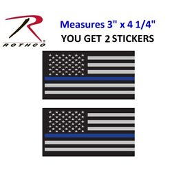 2 THIN BLUE LINE STICKERS 4'' Sub Flag DECAL STICKER Support Police Rothco 1293
