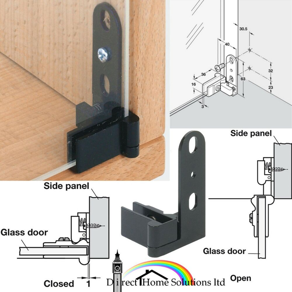 2 X Hafele Sprung Glass Door Inset Mount Pivot Hinges 180 1 Pair Top Bottom
