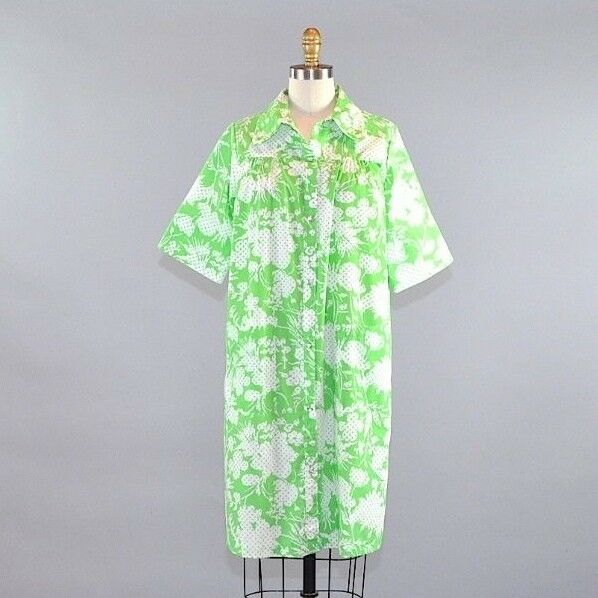f385279798ed Details about Vtg Sears Women s Sleepwear House Dress Robe Green White  Floral Polka Dot Size L