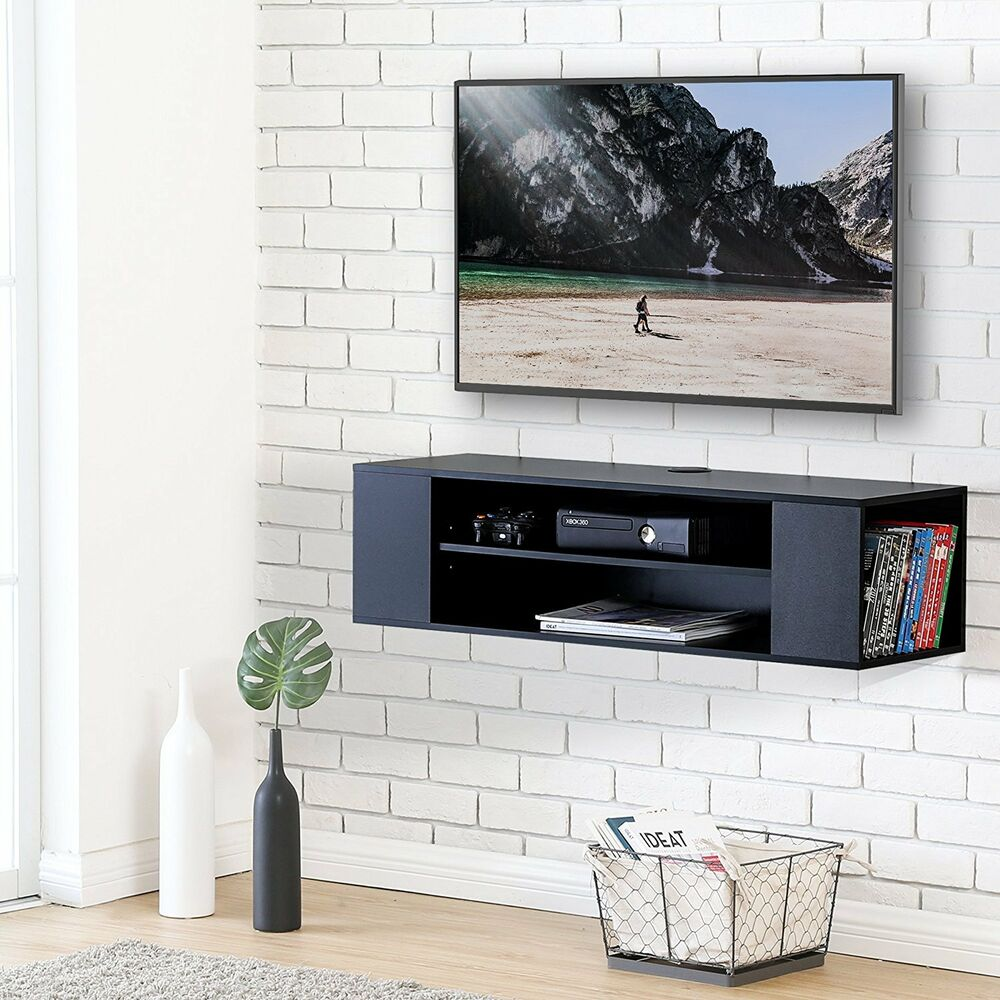 black media console floating wall mount tv stand. Black Bedroom Furniture Sets. Home Design Ideas