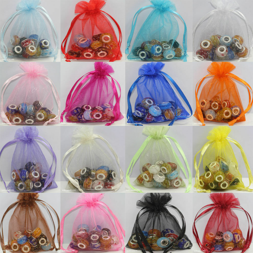 Details About 25 50 100X Gauze Organza Jewelry Packing Pouch Drawstring Bag Wedding Favor Gift
