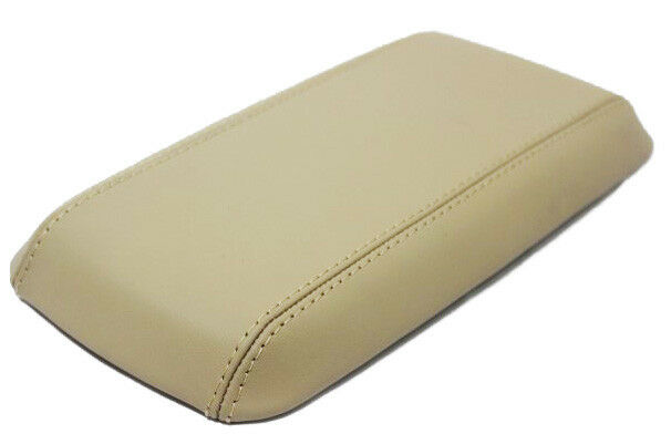 Real Leather Beige Center Console Lid Armrest Cover Fits