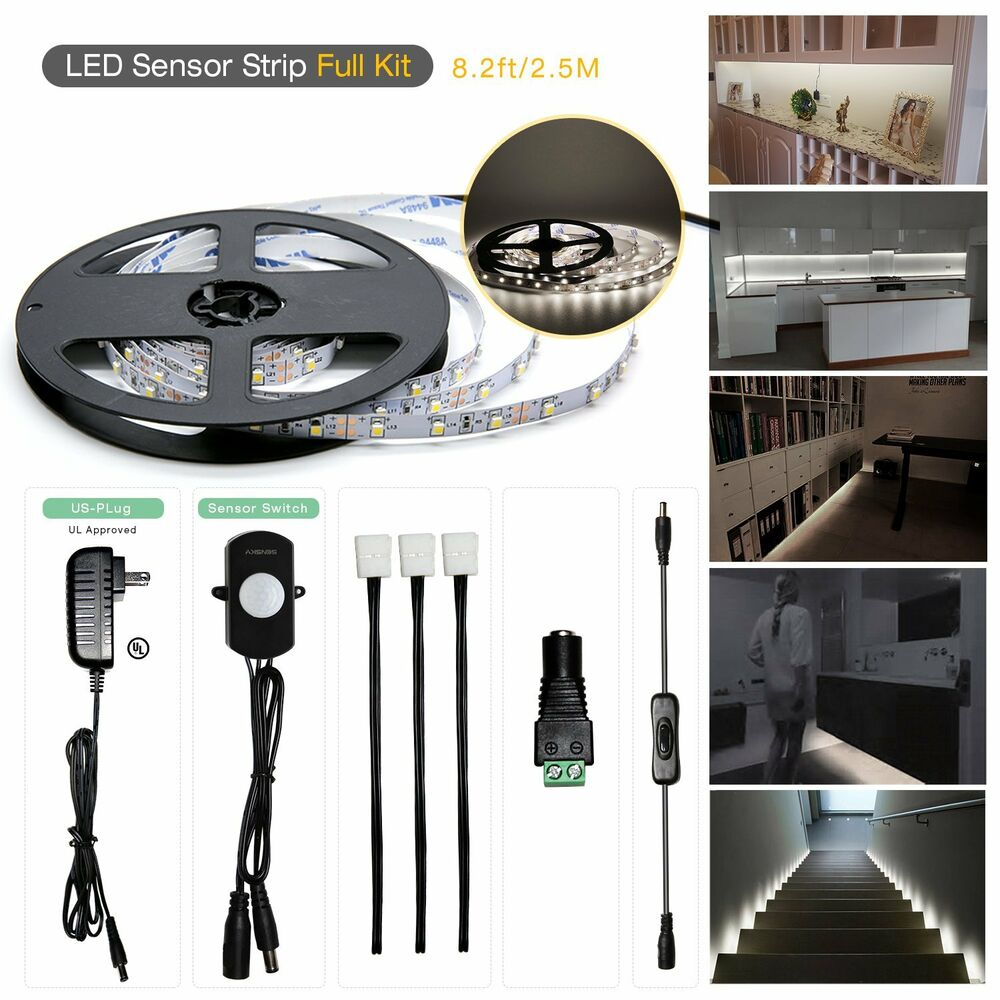 sensky motion sensor led under cabinet lighting kit extendable under counter led ebay. Black Bedroom Furniture Sets. Home Design Ideas