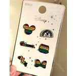 PRIMARK DISNEY MICKEY MOUSE PRIDE RAINBOW 6 METAL PIN BADGE SET - Brand New