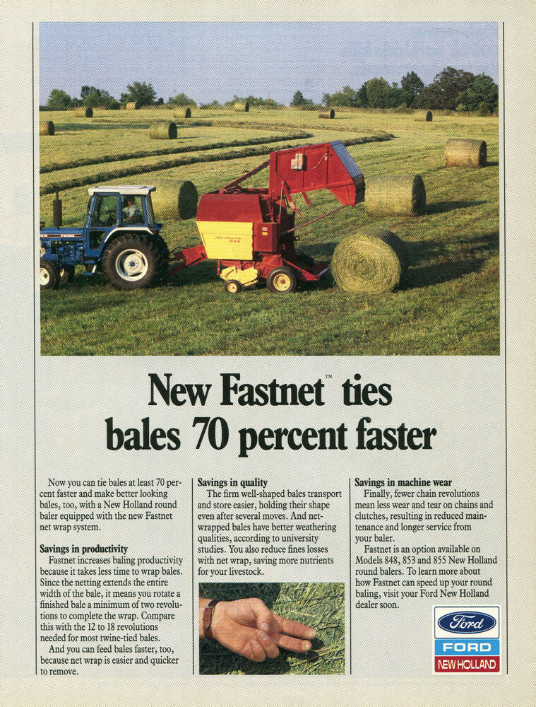 1989 Ford New Holland 5610 Farm Tractor & 855 Baler Print Ad
