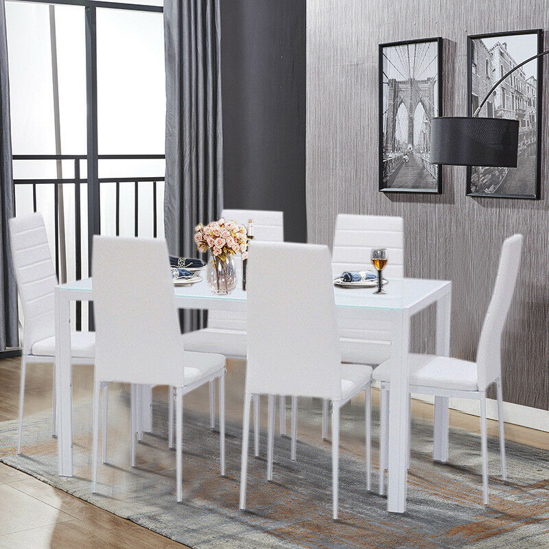 Modern White Glass Dining Table Set and 4/6 Padded Leather ...