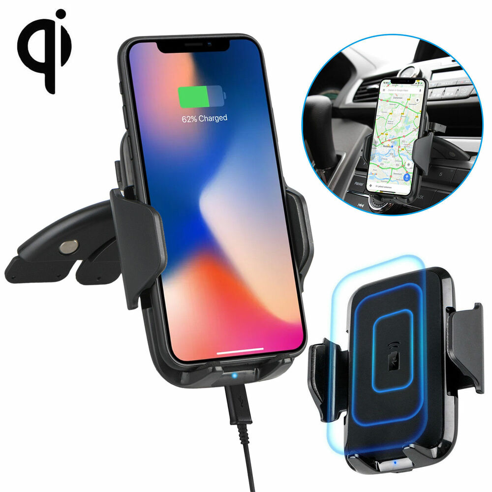 fast qi wireless car charger cd slot mount holder for samsung s9 plus iphone x 8 ebay. Black Bedroom Furniture Sets. Home Design Ideas