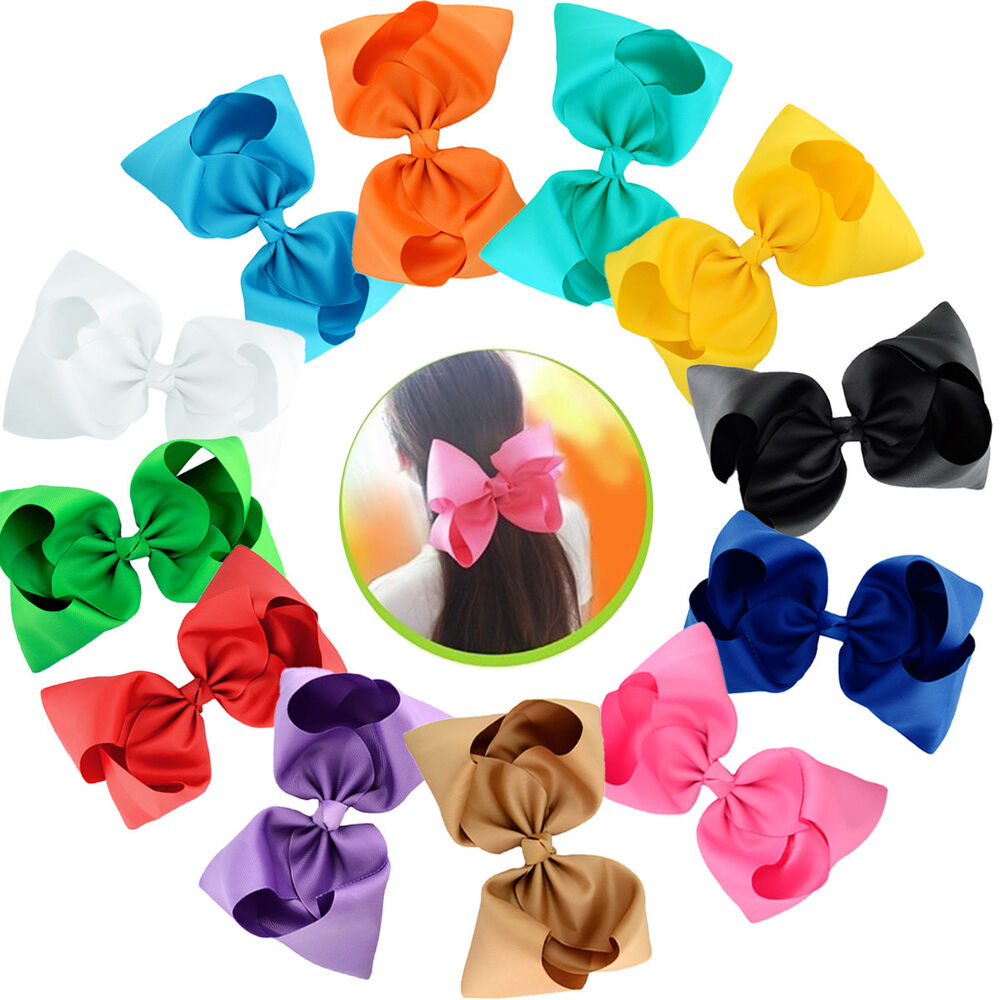 "Big Hair Bows Clips 12 Pcs 8/"" Ribbon Alligator Clip Bow Toddlers Teenager Kids"