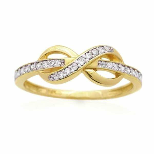 14K Yellow Gold White Gold 0.40Ct Created Diamond Infinity Love Promise Ring