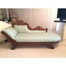 Antique American Victorian Fainting Couch With Carved Wood Detail