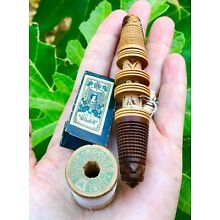 Carved Black Forest Treen Sewing Needle Case/Thread Winder w/Thread & Needle Pk