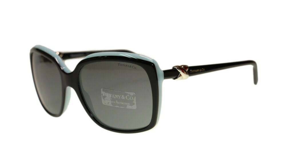 8f28a0b8875 Tiffany TF4076 80553F Top Black Blue Square Women s Sunglasses 58mm  Authentic