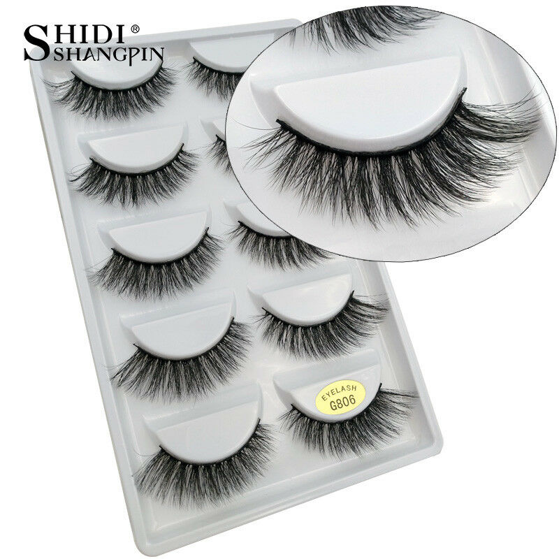 804489b7d64 Details about 5 Pairs 3D Thick Mink Hair False Eyelashes Lengthen The End  Of Eyes Eye Lashes