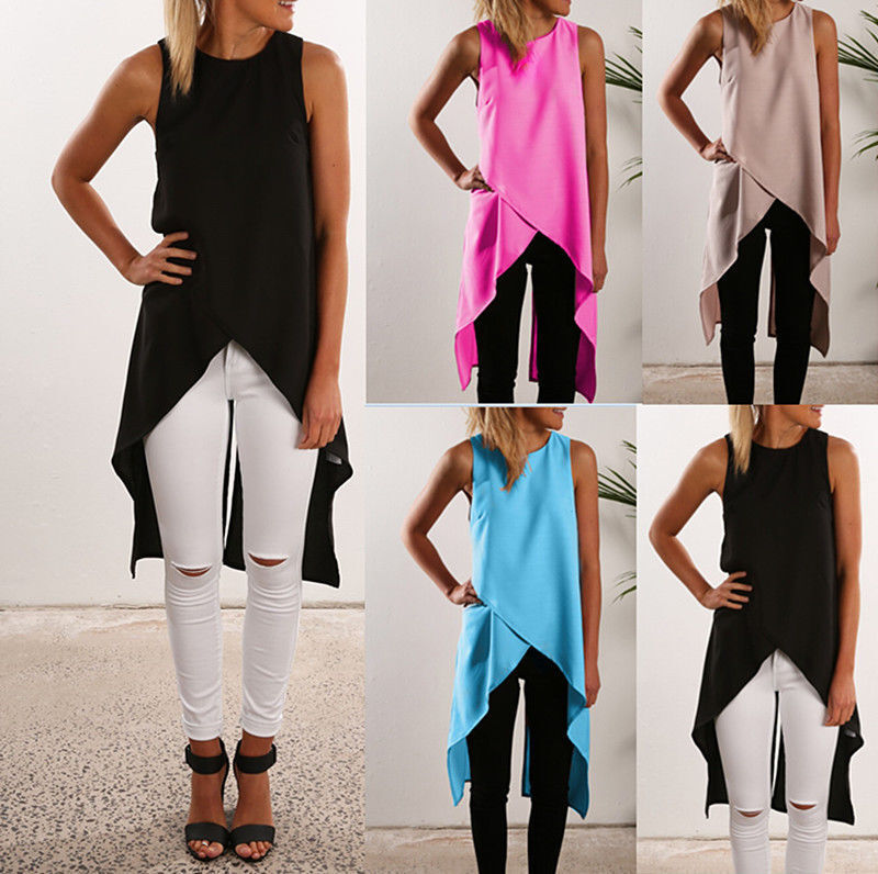 8cc92723b538 Details about Womens Sleeveless Long Tank Blouse Ladies Chiffon Camisole  Vest Shirts Tops Cami