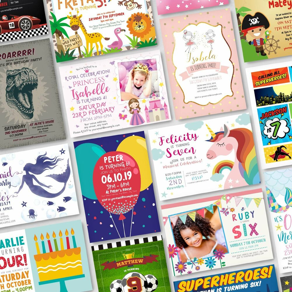Details About 10 X Personalised Birthday Invitations Party Invites Childrens Kids Pack G1