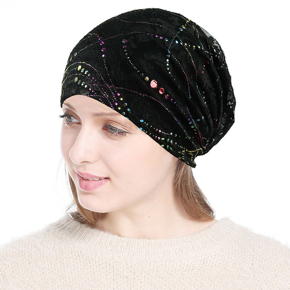 3e658662382 Details about Black Sleep Chemo Cap for Women Beanie Lace Turban Soft Slouchy  Hat Cancer Hats