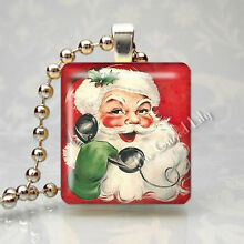 SANTA CLAUS VINTAGE RETRO CHRISTMAS HOLIDAY Scrabble Tile Pendant Jewelry Charm