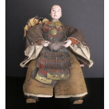 Antique Japanese Seated Samurai Doll Brocade & Leather Robes Glass Eyes 17