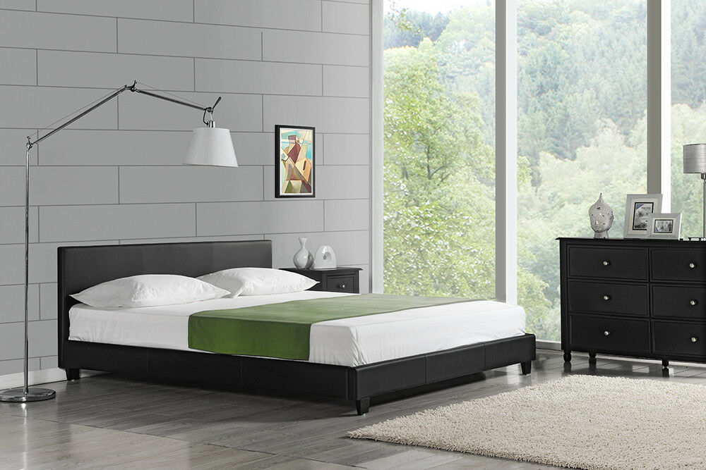 lit double moderne sommier tapissier 200x200cm noir lit. Black Bedroom Furniture Sets. Home Design Ideas