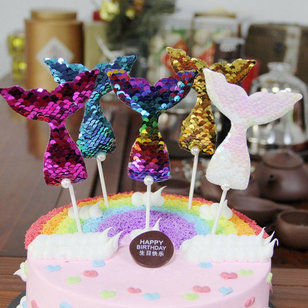 Details About Cake Toppers Mermaid Tail Unicorn Sequins Dessert Decor Birthday Party Supplies