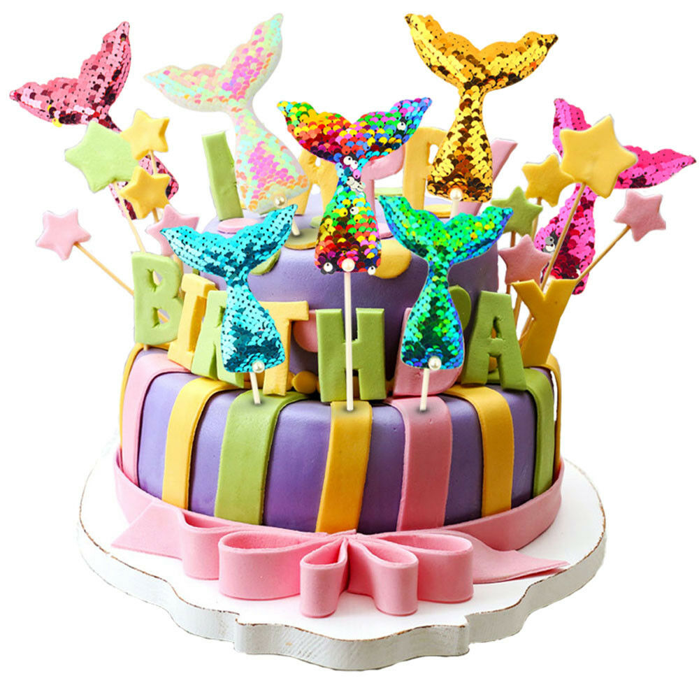 Details About Sequins Cake Toppers Mermaid Tail Unicorn Cupcake Decor Birthday Party Supplies