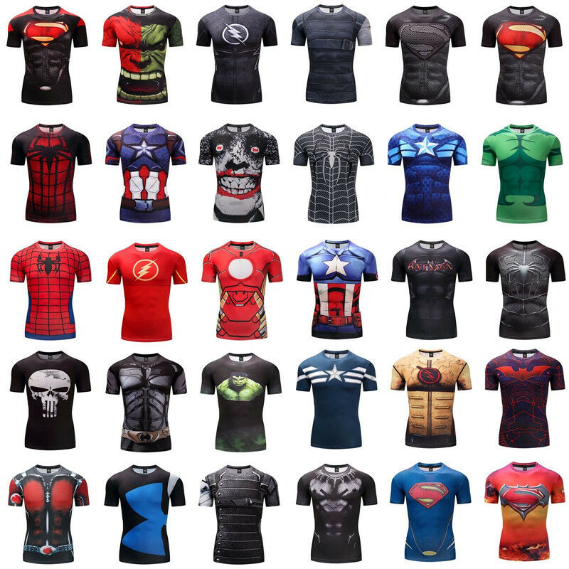 61035cc453afe Details about Superhero Superman 3D Marvel Avengers Panther Compression GYM  t-shirt Fitness
