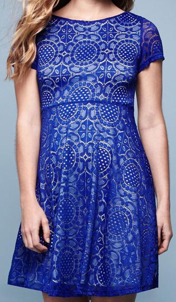 Details about Yumi Womens Lace Skater Dress Cobalt Blue Cut Out Floral Dress  UK 14 RRP £65 291f906bf
