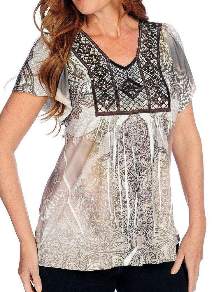 One World Printed Knit Flutter Sleeve Embellished Lace Detail Top NEW