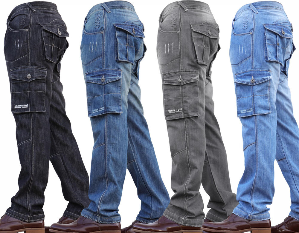 8b9c91452a75 Details about New Mens Denim And Dye Cargo Combat Work Cheap Pants Jeans  Trousers Waist Sizes