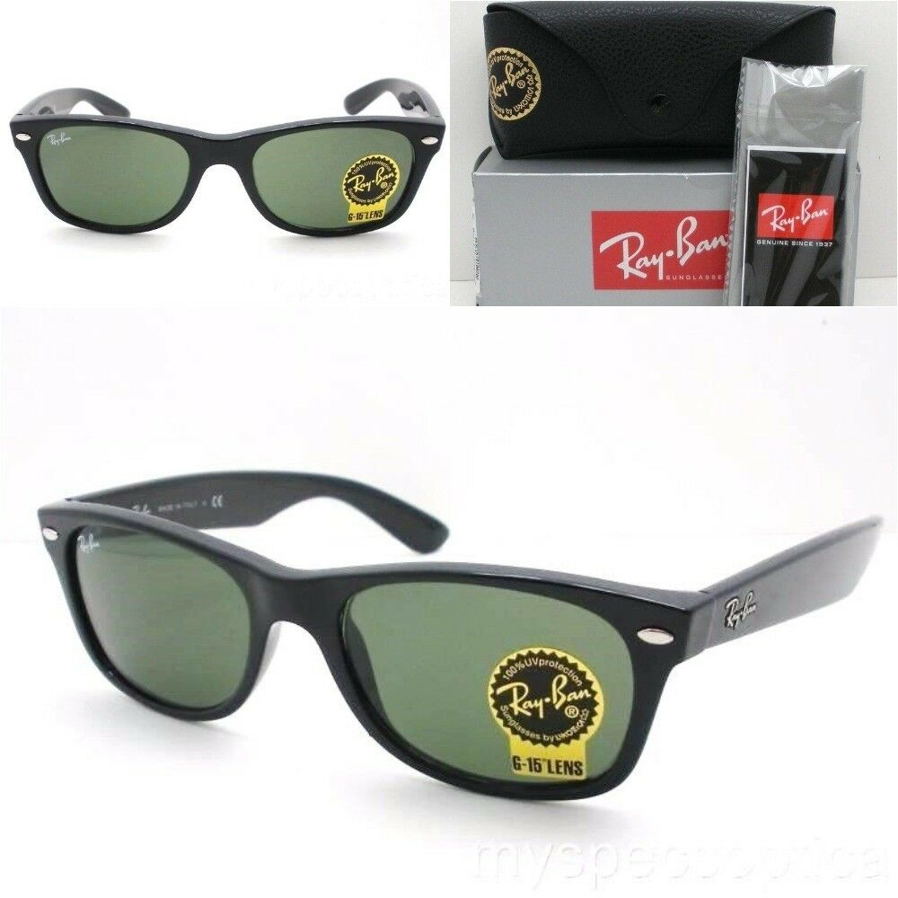 3999ecdfba0 Details about AUTHENTIC Ray Ban New Wayfarer 2132 901 New Black Green G15  New Sunglasses