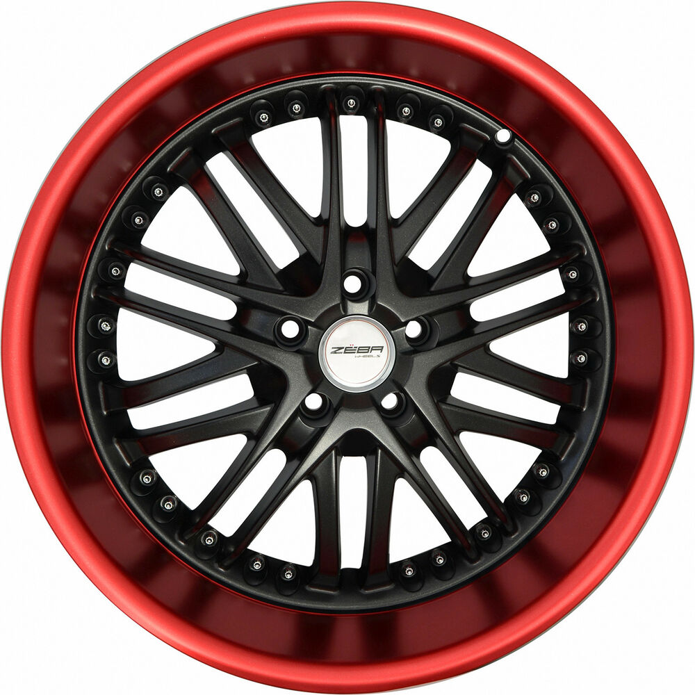 4 GWG Wheels 18 Inch Black Red Lip AMAYA Rims Fits JAGUAR