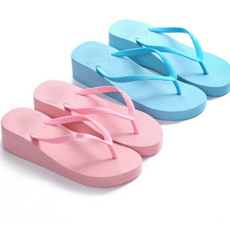 75d73f5b3 Details about Women Wedge Thick Slippers Flip Flops Platform Thong Sandals  Beach Summer Shoes