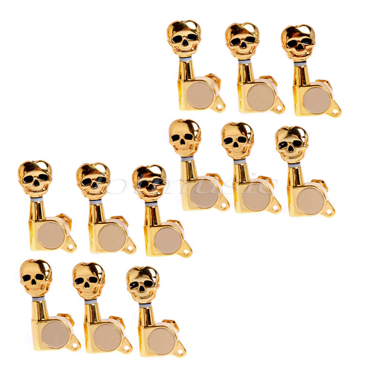 electric guitar tuning pegs tuners skull button tuner keys gold sealed 12 right 634458305358 ebay. Black Bedroom Furniture Sets. Home Design Ideas
