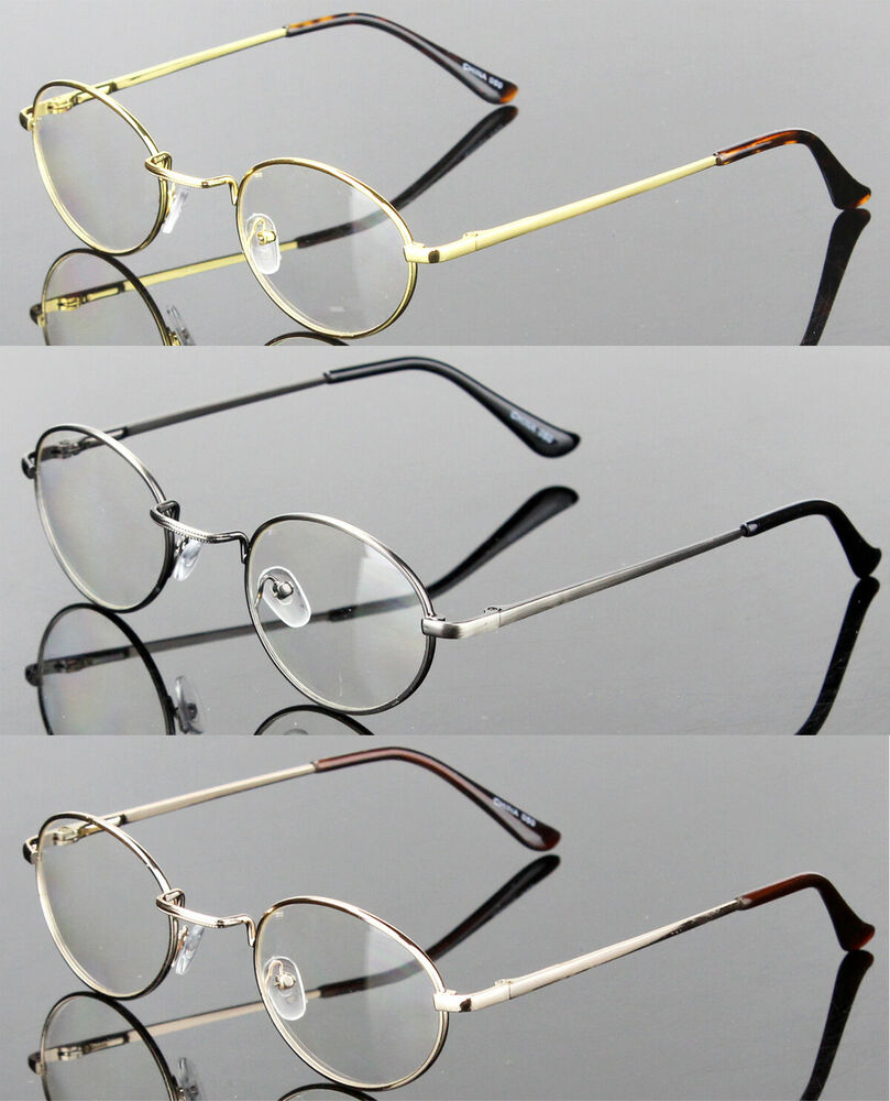 7b0ad07abe5 Details about Mens Womens Clear Lens Eye Glasses Oval Vintage Retro Metal Frame  Fashion Small