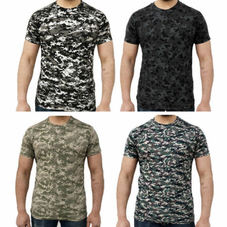 img-Men's Soft Touch Military Digital Camouflage T-Shirt Top 4 camo patterns