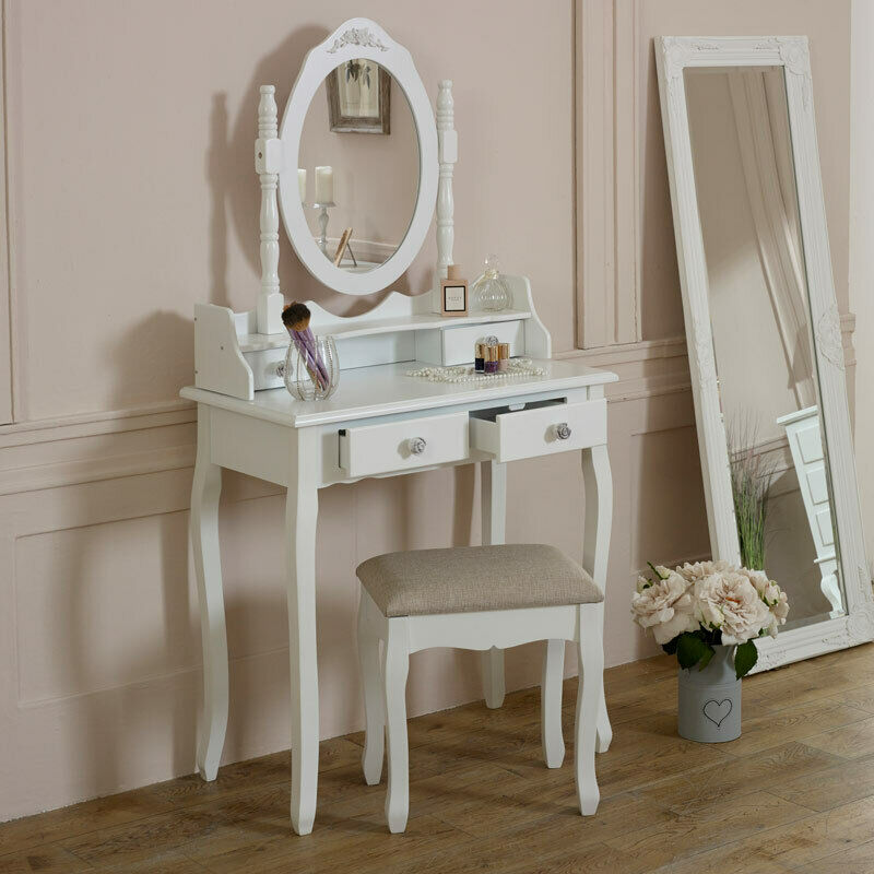White Dressing Table Set Mirror Stool Shabby French Chic Bedroom