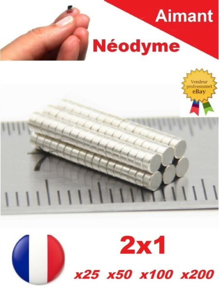 Lot Aimants Puissant Neodyme NdFeB  2 X 1 mm  Photo, Miniature, Scrapbooking...